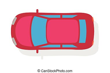Passenger Car Top View Flat Style Vector Icon - Passenger...