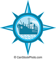 Passenger Cargo Ship Ocean Liner Compass - Illustration of a...