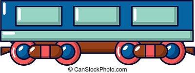 Passenger carriage icon, cartoon style