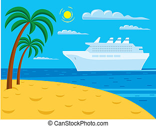 passenger cruise liner near tropical beach