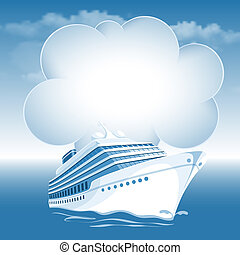 Passenger cruise liner moving under the blue sky and white...