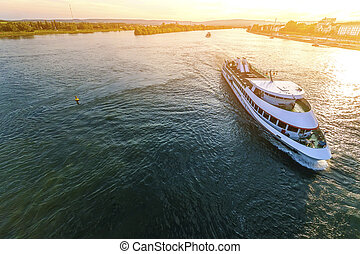Passenger cruise ship on the Rhine river in Mainz, Germany on a