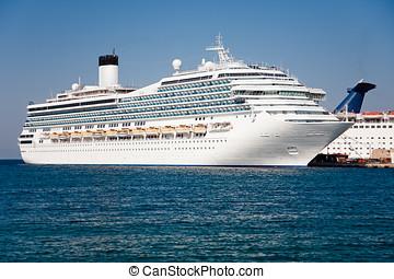 Passenger cruise ship - Large white passenger ship waiting...