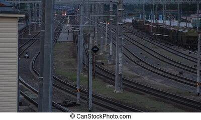 Passenger diesel train arrives at the station