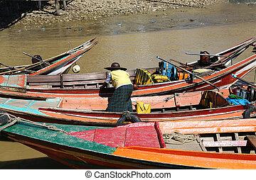 Passenger Ferries Yangon Myanmar - passenger ferries, little...