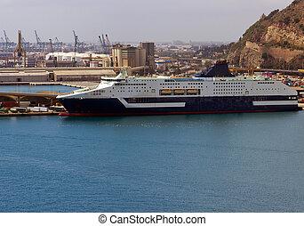 passenger ferry boat navigating in Barcelona port,Spain