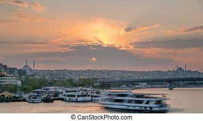 Passenger Ferry in the Bosphorus at sunset timelapse,...