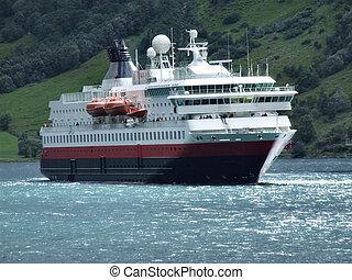 Passenger ferry - Big, luxurious passenger ferry in a...