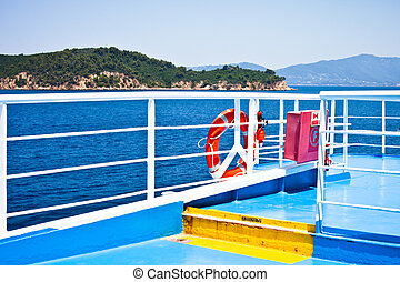View on the deck of a passenger ferry in Greece