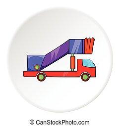 Passenger gangway icon, cartoon style