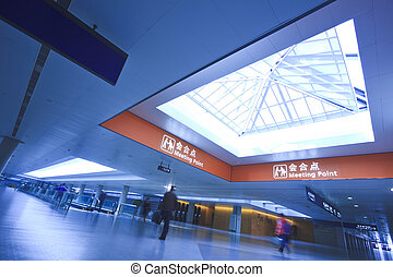 passenger in the shanghai pudong airport. interior of the ...