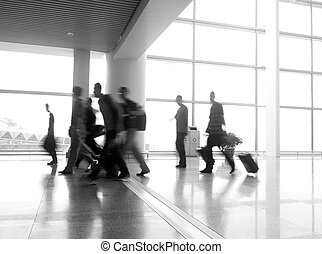 passenger in the shanghai pudong airport.interior of the...