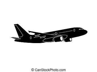 jet airliner - passenger jet airliner silhouette...