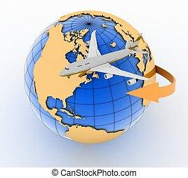 passenger jet airplane travels. 3d render illustration on...
