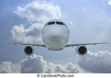 Passenger jet inflight