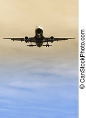 landing approach - passenger jet on landing approach with ...
