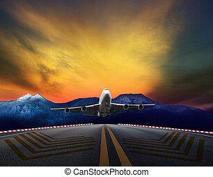 passenger jet plane flying over air