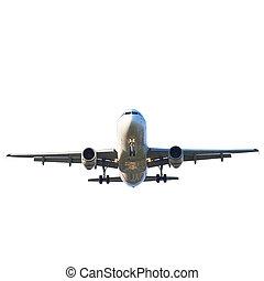 passenger jet plane preparing to landing against beautiful ...