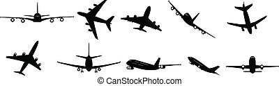 passenger jets - collection of vector illustrated passenger...