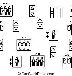 passenger, mönster, hiss, seamless, vektor, hiss
