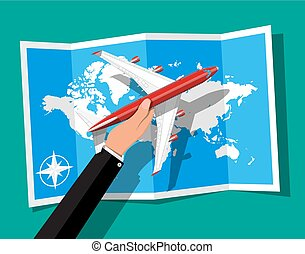 Passenger or commercial jet in hand, map