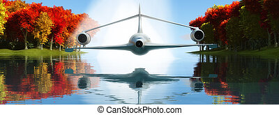 passenger plane - 3d illustration of a prototype aircraft...