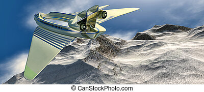 passenger plane - 3d illustration of a prototype aircraft ...