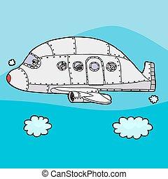 Passenger Plane Above Clouds