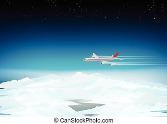 Passenger Plane Above the Clouds