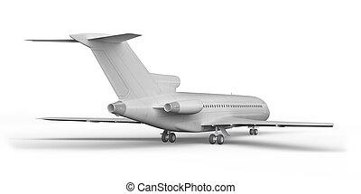 Passenger plane BOEING 727 3D render on a white background 4k