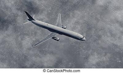 Passenger plane flies above big city