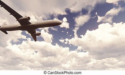 Passenger plane flying through the clouds in the blue sky. 3D Rendering