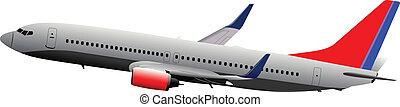Passenger plane in air. Vector ill