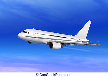 passenger plane in blue sky