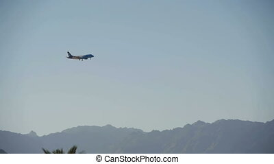 Passenger Plane in the Sky Landing on the Background of Mountains and Palm Trees in Egypt. Slow Motion
