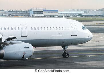 Passenger plane is taking off.