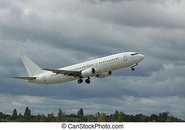 Passenger plane is taking off