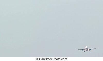 Passenger Plane on Final Approach for Landing in a Crosswind. Video Full HD