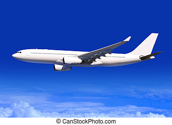 passenger plane over clouds - white passenger plane flies...