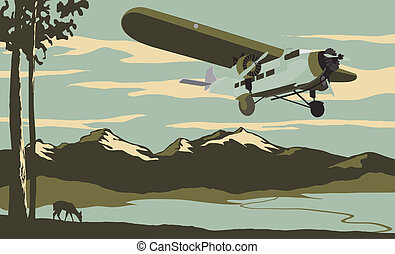 Passenger Plane Scene - Vintage looking illustration of an...
