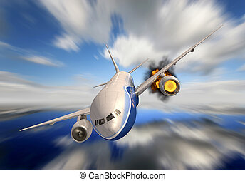 passenger plane in 3d crashing