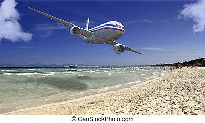 passenger plane - landscape and passenger plane in 3d