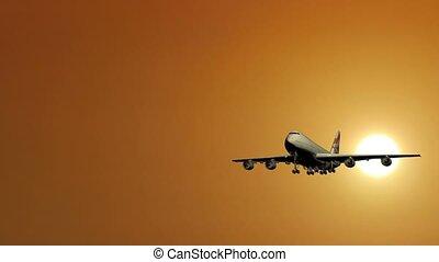 Passenger plane takes off.