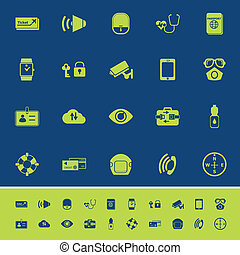 Passenger security color icons on blue background
