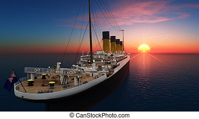 passenger ship and sun rise