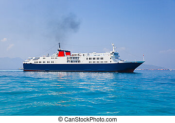 Passenger ship at sea - transportation background