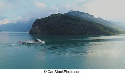 Passenger ship boat in the mountain lake of Switzerland -...