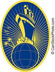 Passenger ship boat Ocean liner globe - illustration of a...