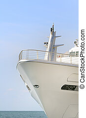 Passenger ship - Bow of a white ship with sea in bagckground
