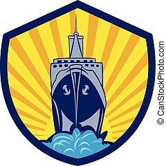 Passenger Ship Cargo Boat Crest Cartoon